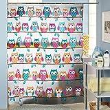 PsmGoods® Patrón OWL cortina de ducha con 12 Unbreakable ganchos de la cortina de la ducha