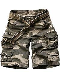 Hombre Pantalones Cortos Cortos de Carga Camuflaje Bermuda Cortos Pantalones Deporte Shorts Multi Bolsillos Moda Pantalones