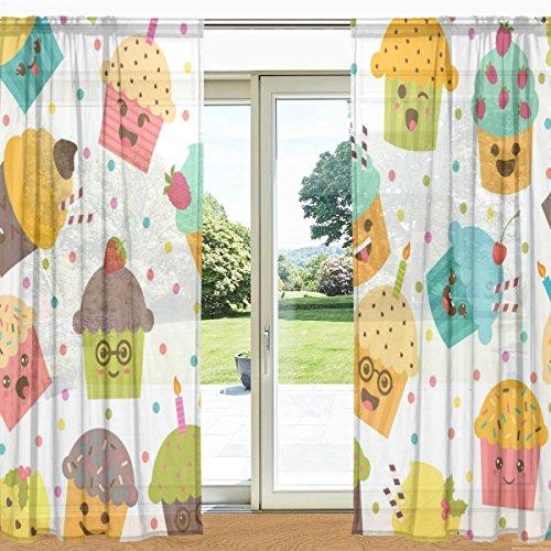mydaily Cute Emoji-Cupcake bedruckt Sheer Fenster und Tür Vorhang 2Felder 139,7x 213,4cm Rod Pocket Panels für Wohnzimmer Schlafzimmer Decor, Polyester, multi, 55