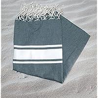 Fouta tunecina de panal de abeja Beige Claro Ref ama025–100% algodón peinado.. Se Utilise en toalla de playa o para la sala de baño tamaño 100x 200cms (con flecos). Marca Fouta del sur...