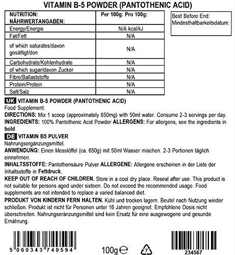 Bulk Powders Vitamin B5 Pulver, 100 g
