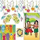 Hawaii Flip Flop Sommer Partyset 53 Teile Servietten Girlande Papierschirmchen Foto-Türposter