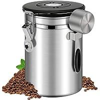 Boîte à Café, Boîte à café hermétique 500g Boite Cafe moulu grain inox Acier Inoxydable Avec Cadran Fraîcheur Et…