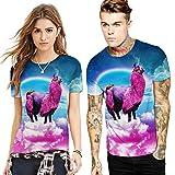 Herren Cool Entworfen 3D Druck V-Ausschnitt Kurzarm T-Shirts Tees Tops Unisex Stilvolle Beiläufige Paar Outfit M