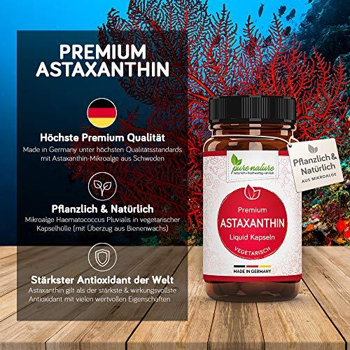 100% VEGETARISCH: Premium Astaxanthin pflanzlich in Flüssig Kapseln | Made in Germany | 4 mg | Höchste Bioverfügbarkeit | Aus Mikroalge mit Vitamin C & E | 60 Liquid Kapsel |