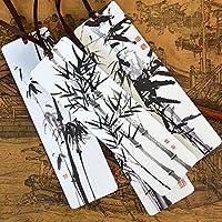 YLLY 4 Pcs Estilo Chino Marcapáginas de Bambú Página Marcador Antiquidad Tinta Pintura Papel Marcapáginas para Profesor