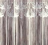 Fashion&Joy - Fadengardine Fadenvorhang mit Kräuselband & Stangendurchzug - HxB 250x300 cm mit Oberbordüre Motiv Vögel - Fadenstore weiß Gardine Vorhang Typ17