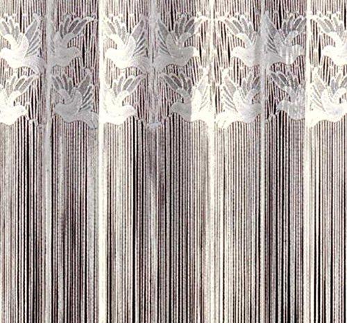Fashion&Joy - Fadengardine Fadenvorhang mit Kräuselband & Stangendurchzug - HxB 150x300 cm mit Oberbordüre Motiv Vögel - Fadenstore weiß Gardine Vorhang Typ17