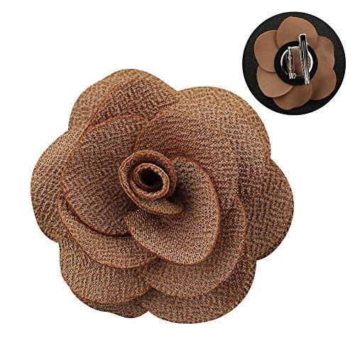 Soleebee NS001B Ansteckblumen Herren Handgefertigt Revers Pin Blume Set Revers Krawatte Brosche Kamelie Boutonniere für Anzug mit Clip (Braun)