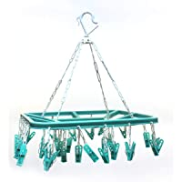 ANZZSS 32 Clips Pure Version plastic Square Cloth Dryer/Clothes Drying Stand/Hanger with Clips (Clothes Peg)
