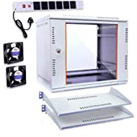 Server Rack 9U Combo Wall Rack Mount with 6 Power Socket & Cable - Lock & Keys - Tray (2 Nos) - 1 Cooling Fan and…