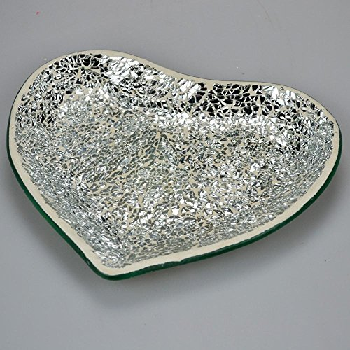 Love Heart Glass Silver Mosaic Plate