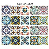 Sunshay 20 pcs Thickened 3D Imitation Ceramic Tile Stickers Waterproof Simple European Style Stickers Removable for Kitchen/Bathroom/Home Decor PVC Decals Paper