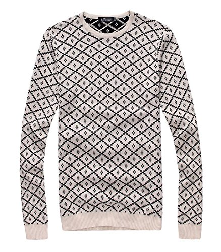 jeansian Herren Slim Fit Long Sleeves Casual Shirts Pullover Sweater 8846 Beige