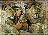 SRJ2018 Mujer egipcia Antigua con Joyas de Oro y Dos Leones Súper Absorbente, tapete Antideslizante o tapete para Puerta, Suave y cómodo