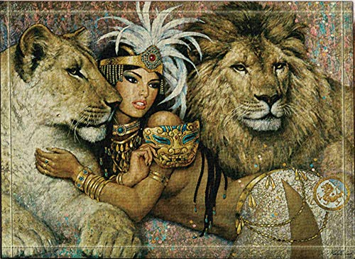 SRJ2018 Mujer egipcia Antigua Joyas Oro Dos Leones