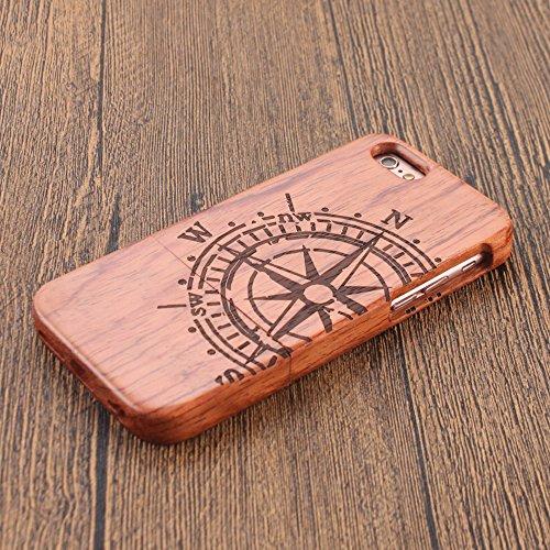 Naturholz Hülle für iPhone 7 - Forepin® Echt Rosenholz Schutzhülle Elegantes Design Bumper Case Cover mit Kompass Muster Ihr Apple iPhone 7 (4.7 Zoll) Smartphone Kompass