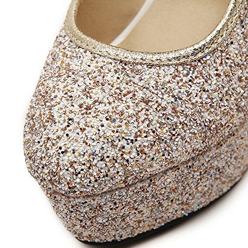 AgooLar Damen Weiches Material Rund Zehe Hoher Absatz Ziehen Auf Rein Pumps Schuhe Golden