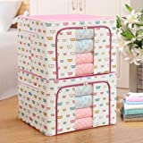VazzLox 2 pcs of 66L Multicolor & Design's Storage Boxes for Clothes, Steel frame Double Opening Zipped Storage Organiser Bag