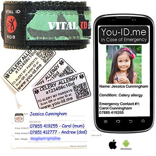 Sie ID Me Sellerie Allergie Armband Kind Medical ID-Armband, dass sendet SMS Warnung Zu Eltern Handy in Case of Emergency *, grün camo