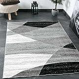 Tapis SALON moderne géométrique Motif rayures chiné en gris blanc noir I Certifié OEKO-TEX I VIMODA, dimensions: 60x 110cm