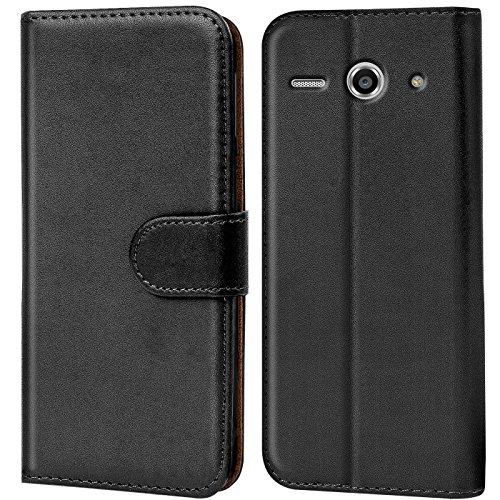 Verco Huawei Y530 Hülle, Handyhülle für Huawei Ascend Y530 Tasche PU Leder Flip Case Brieftasche - Schwarz