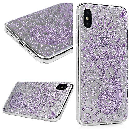 MAXFE.CO Schutzhülle Bumper Case für iPhone X PC Hardcase Plastik Tasche Handyhülle Backcover mit Gemalt Muster Ballon + Rose + Mädchen Schmeterling + Blumen + Totem