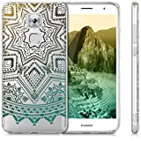 kwmobile Hülle für Huawei Nova Plus - TPU Silikon Backcover Case Handy Schutzhülle - Cover klar Sonne Aztec Design Gelb Türkis Transparent -
