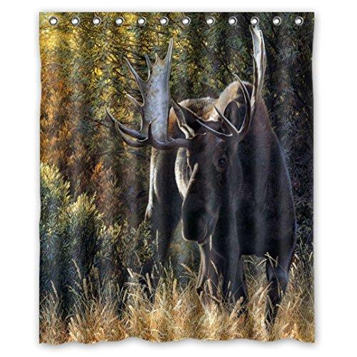 Niedliche Bild Animal World Wildlife 'Süße Sanfte Milu Deer Wasserdicht Stoff Duschvorhang Badewanne 60x 72