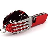 MMRM 3 en 1 Pratique Camping Pique-nique Voyager Pliant Cuillère Fourchette Couteau Outil Multi-fonction Rouge
