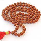 Storite Rudraksha Mala 108 Beads Necklace, Seed Bead Natural Himalaya Rudraksha Seed Prayer Beads Wrist Mala Wrap Bracelet Bead Size 9 Mm