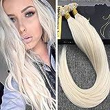 Ugeat 24Zoll #60 Flat Tip Haarverlangerung Echthaar Extensions Blond 50g 1g/s Brasilianisch Tressen Echthaar Keratinbondings