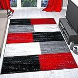 Alfombra de diseño moderna jaspeada a cuadros rojos, negros, grises y blancos pelo corto - VIMODA, Maße:160x230 cm