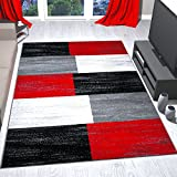 Teppich Rot Grau Schwarz Weiß Kariert Farbverlauf Kurzflor 160x230 cm