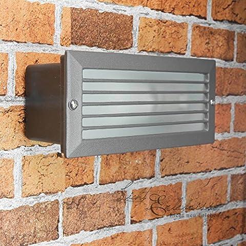 Wandleuchte in anthrazit inkl. 1x 12W E27 LED 230V Wandlampe aus Aluminium & Glas für Garten/Terrasse Garten Terrasse Lampe Leuchten Beleuchtung außen