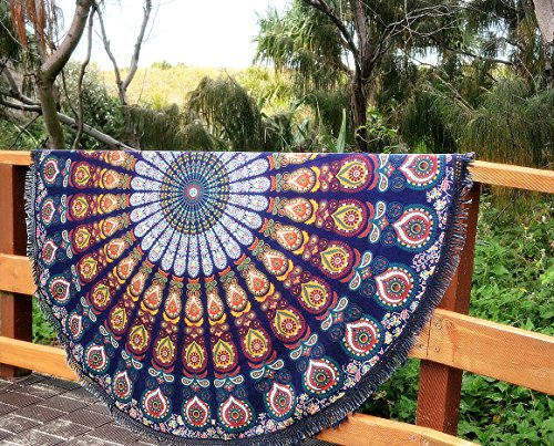 Telo da mare, motivo mandala indiano, rotondo, da usare come arazzo, telo da mare, tappetino per yoga, scialle, tovaglia da picnic, 183 cm blue