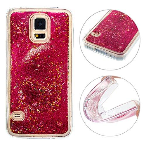 Galaxy S5 Neo Flüssig Hülle, Moon mood 3D Case Galaxy S5 Durchsichtige Handyhülle Kristallklaren Sparkly Silikon TPU Weich Back Cover Liquid Bling Glitzer für Samsung Galaxy S5 / S5 Neo