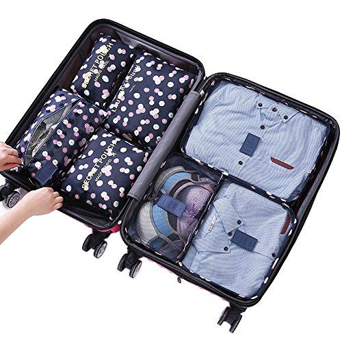 Yiran 7Set Organizadores de viajes Cubos de embalaje Bolsa de lavandería Bolsas de compresión de organizador de bolsa para la ropa, cosmético,zapato (Flor azul marino)