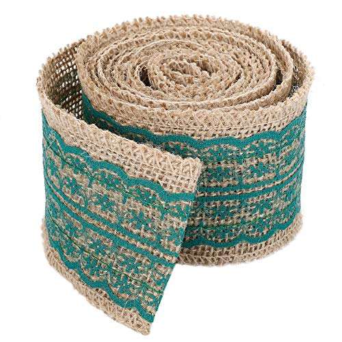Jute Burlap Band-Rolle mit Deep Green Lace 2.4