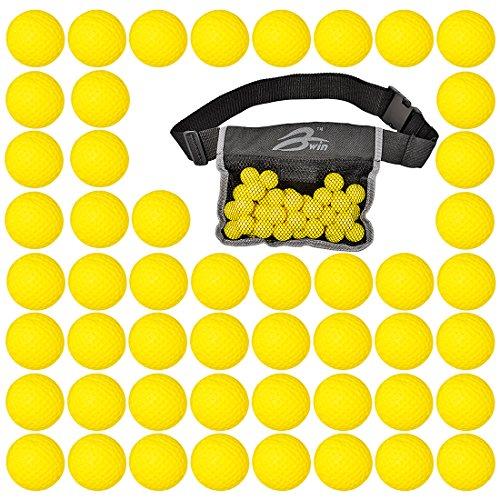 foxom 50unidades redondo Recambio munición bala bolas, compatible para para Nerf Rival, Apollo, Zeus, Khaos, Atlas, Artemis Blasters, con libre táctico Waist-Bag, amarillo
