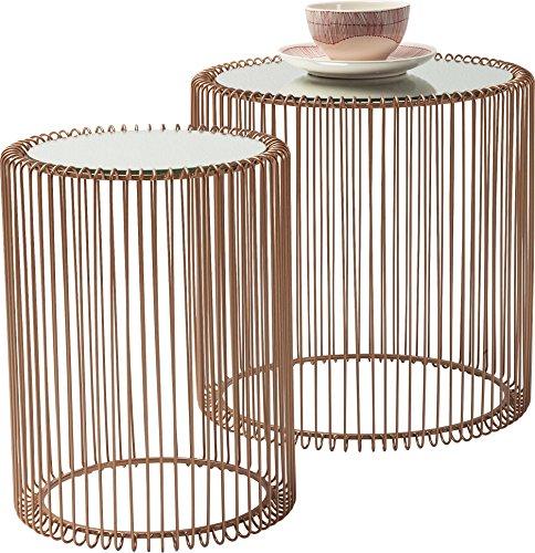 KARE Design Beistelltisch Wire Copper 2er Set, runder, moderner Glastisch, kleiner Couchtisch, Kaffeetisch, Nachttisch, Kupfer (H/B/T) 42,5xØ32,5cm & 45xØ44cm