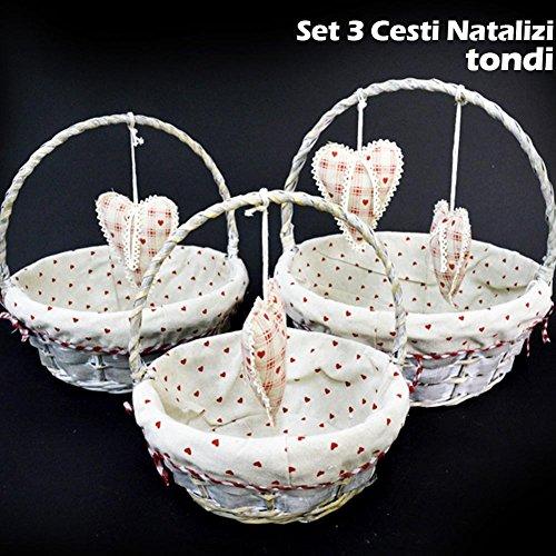 Bakaji set 3 cestini natalizi tondi in vimini e tessuto diametro 38/33/28 cm grigio con cuori a pendolo