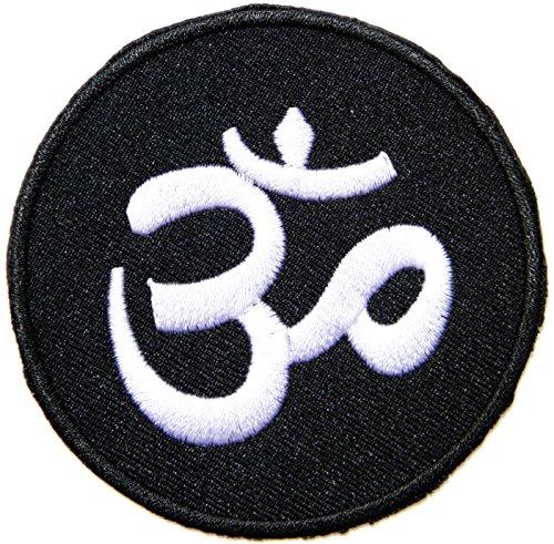 panicha aum patch Aum Om Ohm Hindu Hinduismus Yoga Indischen Lotus Lucky Logo Sign Hippie Retro Biker Jacket T-Shirt Vest Patch Sew Iron on Embroidered Badge Custom (Blau)