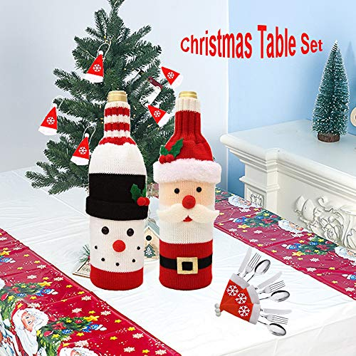 Set decorazioni per la tavola natale - coperchio della bottiglia vino natale cappelli babbo natale cappellini per argenteria tovaglia natale, brutto set da vino per maglione per coltello da forchetta