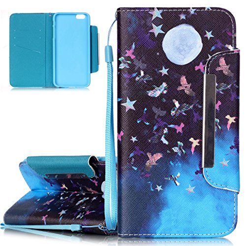 iPhone 6S Plus Hülle, iPhone 6 Plus Hülle, ISAKEN iPhone 6S Plus /6 Plus Hülle Muster, Handy Case Cover Tasche for iPhone 6S Plus / 6 Plus, Bunte Retro Muster Druck Flip Cover PU Leder Tasche Case Sch Nacht Vogel