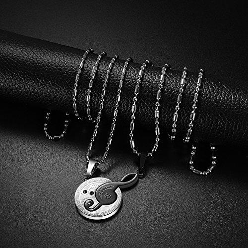 Oidea 1 Paar(2PCS) Freundschaftsketten mit Anhänger, Krone Ring Edelstahl Partner-Anhänger mit 45cm und 55cm Kette, Halskette Halsband für Damen Herren (I Love You partneranhänger)