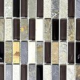 Mosaik Fliese Transluzent beige braun grau schwarz Stäbchen Glasmosaik Crystal Stein für BODEN WAND BAD WC DUSCHE KÜCHE FLIESENSPIEGEL THEKENVERKLEIDUNG BADEWANNENVERKLEIDUNG Mosaikmatte Mosaikplatte