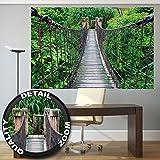 great-art Fototapete Hängebrücke Wandbild Dekoration Dschungel Landschaft Natur Adventure Brücke Regenwald Busch Tropen Urwald Holzbrücke | Foto-Tapete Wandtapete Fotoposter Wanddeko by 210x140 cm