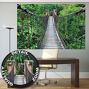 Fototapete tropischer regenwald  Fototapete Hängebrücke Wandbild Dekoration Dschungel Landschaft ...