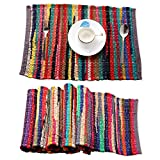 Rajrang tovaglietta Chindi in Puro Cotone Multicolore Set di 6 tovagliette in Tessuto Decorativo per Tavolo da Pranzo per Pranzo, Cena, Colazione, casa e Cucina - tovagliette Chindi